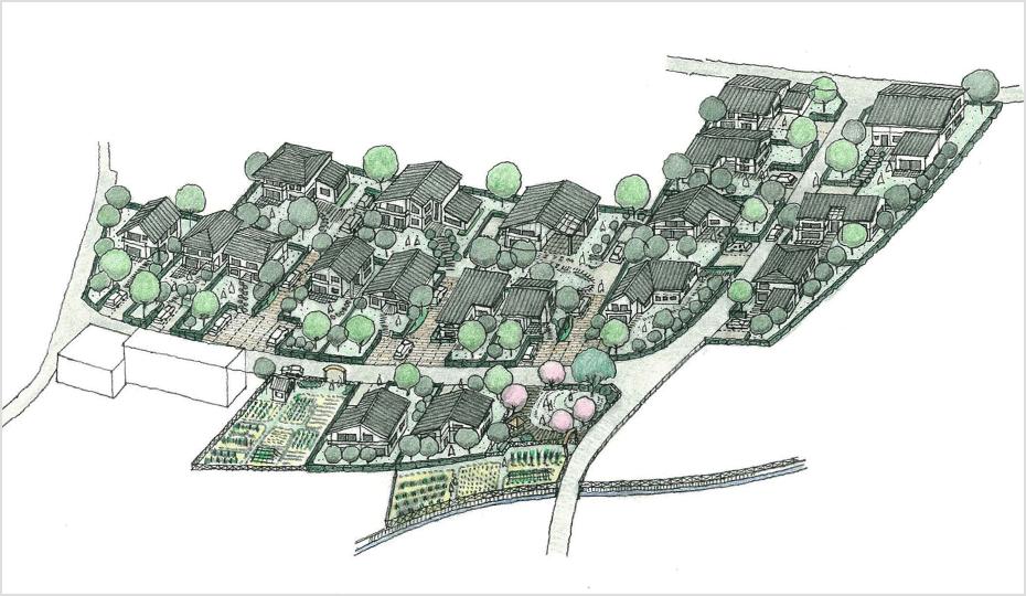 久保野地区集団移転計画地イメージパース※建物等についてはあくまでイメージとなります。